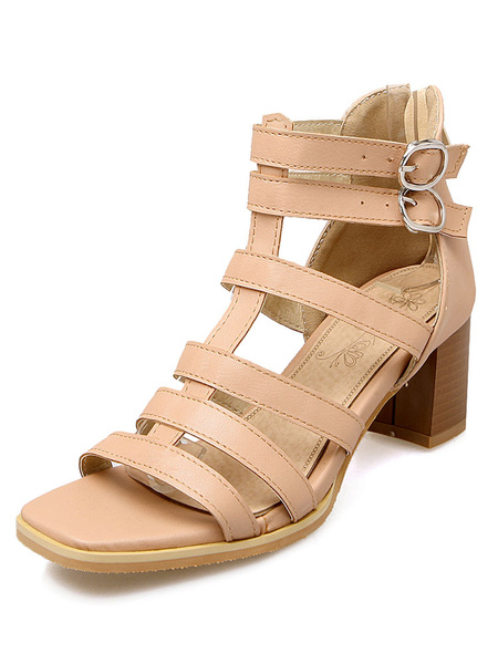Pink Gladiator Sandals Women's Square Toe Chunky Heel Cut Out Double Buckles Summer Shoes