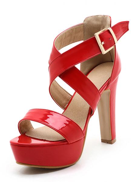 Rote Plattform Sandalen zehenoffenen Stiletto Riemchen High Heel Sandale Damenschuhe