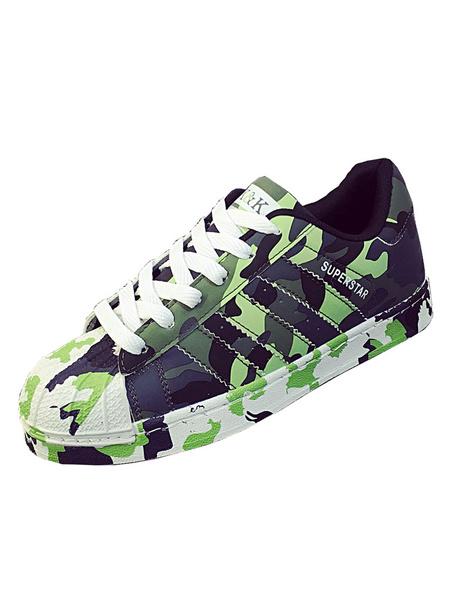 Женские зеленые кроссовки камуфляж круглый носок зашнуровать туфли
