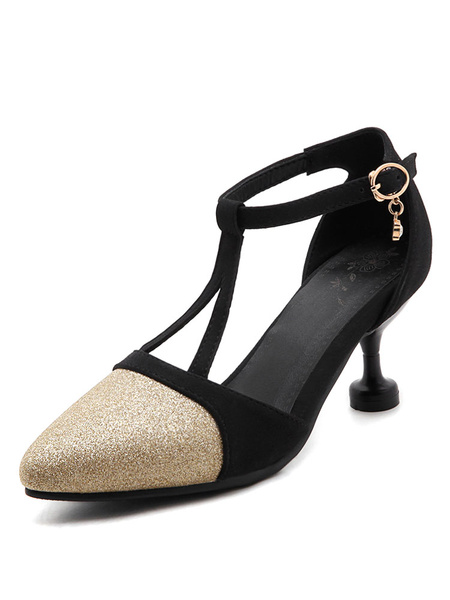 Kitten Heel Pumps Women's Constrast Sequins Pointed Toe Cut Out Adjustable Straps Buckled Shoes фото