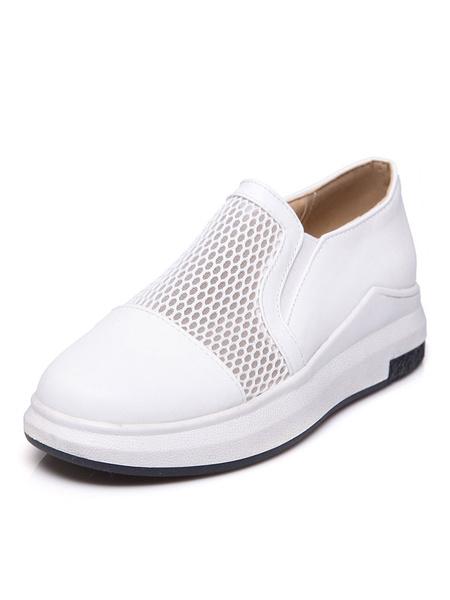 Белые женские кроссовки круглый носок сетки лоскутное скольжения на плоской подошве мокасины