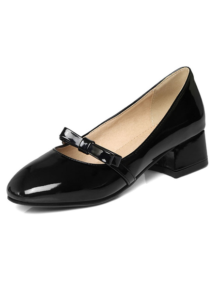 Black Chunky Heels Round Toe PU Bow Decor Slip On Puppy Heel Pumps