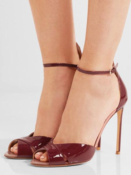 Sandalias de tacón de stiletto para fiesta formal de puntera abierta Color liso para mujer estilo mo