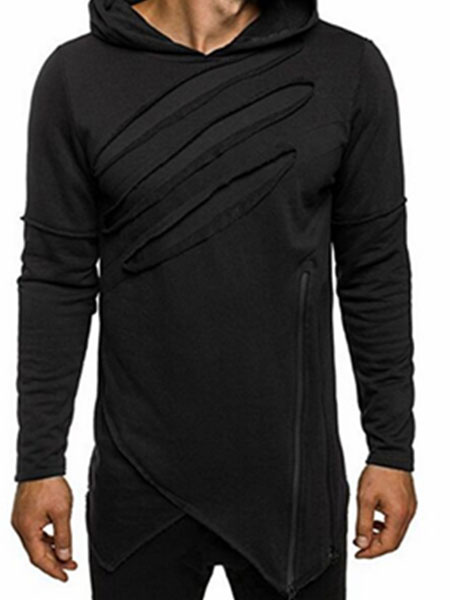 Black Pullover Sweatshirt Hooded Long Sleeve Irregular Cotton Hoodie For Men