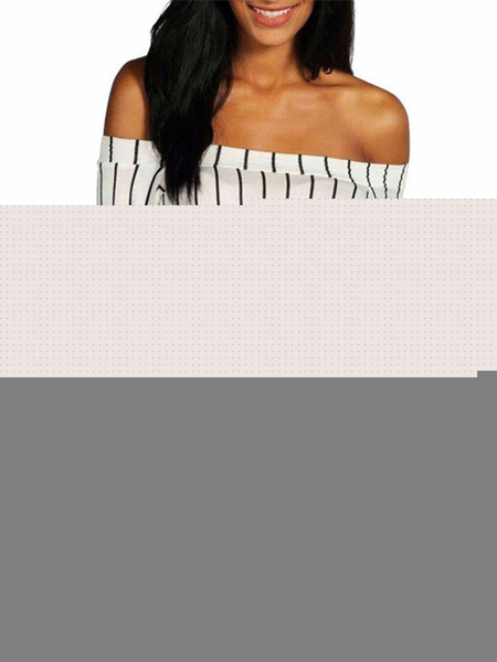 Women's Black T Shirt Off The Shoulder Long Sleeve Stripe Pattern Elastic Chic Top фото