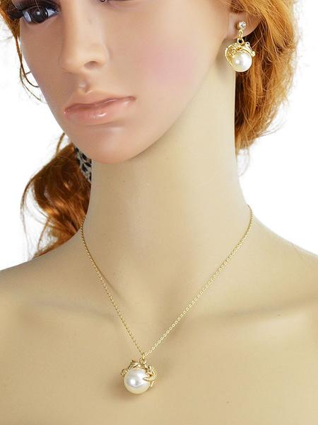 Perle Halskette Set Gold Vintage Damen Anhänger Halskette mit Tropfen Ohrringe