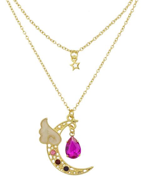 Rose Anhänger Halskette schicke Strass Perlen Mond Muster abgestufte Halskette für Frauen