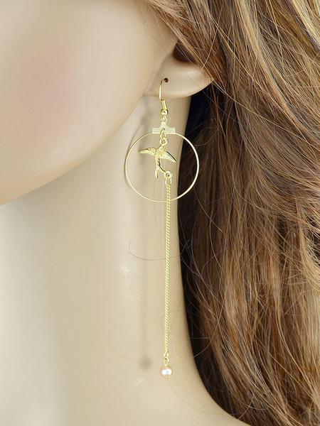 Gold Pendant Earring Women's Chain Hoop Long Dangle Earrings фото