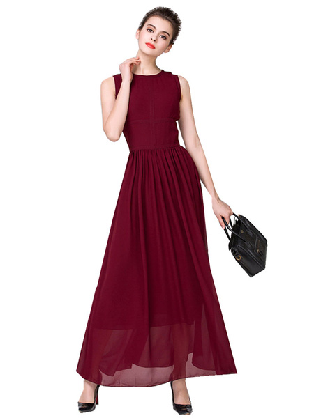 Burgundy Maxi Dress Chiffon Round Neck Sleeveless Pleated Long Dress For Women фото