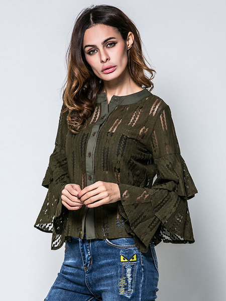Women's Lace Blouse Hunter Green Round Neck Long Flared Sleeve Ruffles Layered Cut Out Semi Sheer To, Black;hunter green;white
