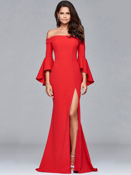 Red Maxi Dress Sexy Off The Shoulder Bell 3/4 Length Sleeve Slim Fit Slit Long Dress