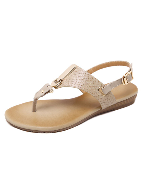 Apricot Flat Sandals Women's Thong Slingback Python Pattern Metallic Detail Casual Sandals