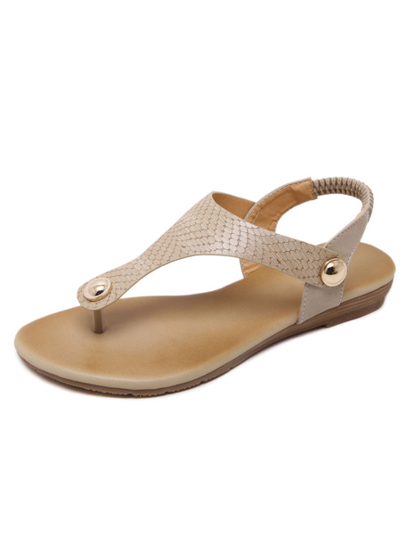 Apricot Thong Sandals Women's Python Pattern Metallic Detail Slingback Casual Flat Sandals