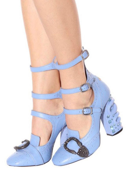 Blue Sandal Boots Women's Leather Square Toe Buckle Decor Designed Chunky High Heel Sandals