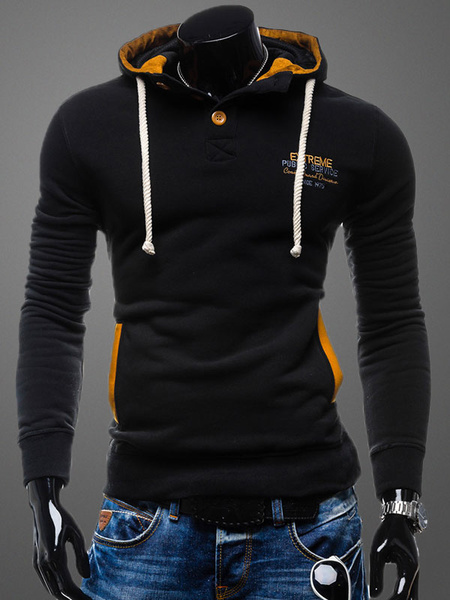 Black Pullover Sweatshirt Hooded Long Sleeve Drawstring Regular Fit Cotton Hoodie For Men