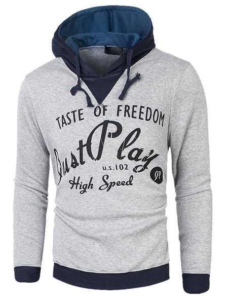 Grey Pullover Sweatshirt Hooded Long Sleeve Drawstring Letters Printed Cotton Hoodie For Men