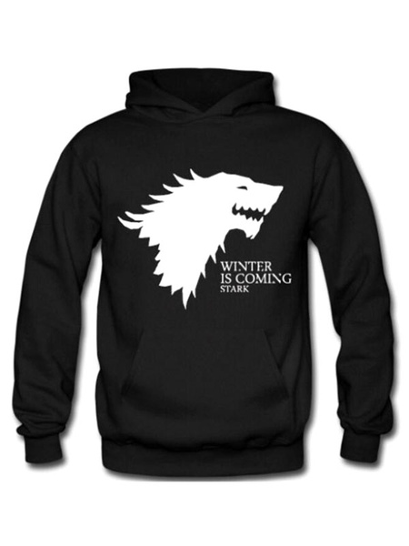 Black Pullover Sweatshirt Hooded Long Sleeve Game Of Thrones Printed Regular Fit Hoodie