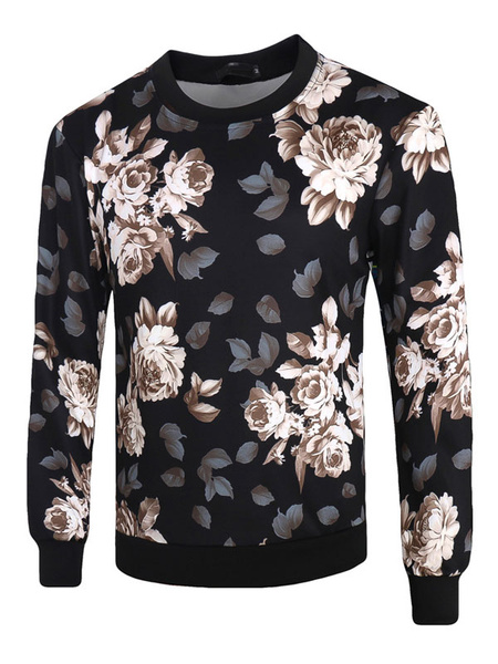 Black Pullover Sweatshirt Round Neck Long Sleeve Floral Printed Cotton Top For Men