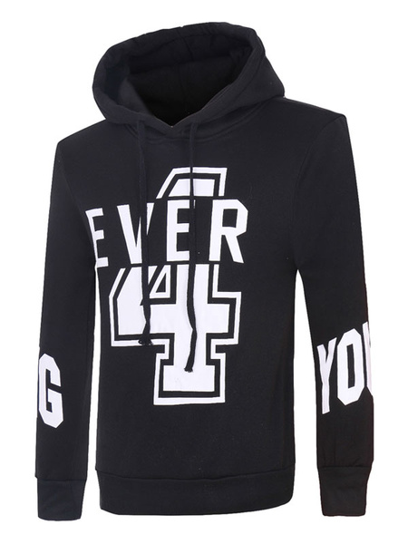 Black Cotton Sweatshirt Hooded Long Sleeve Drawstring Printed Regular Fit Hoodie For Men фото