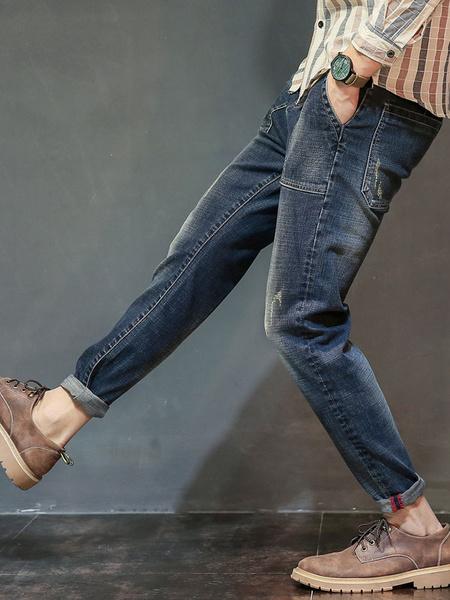 Men's Denim Jeans Deep Blue Straight Leg Long Pants фото