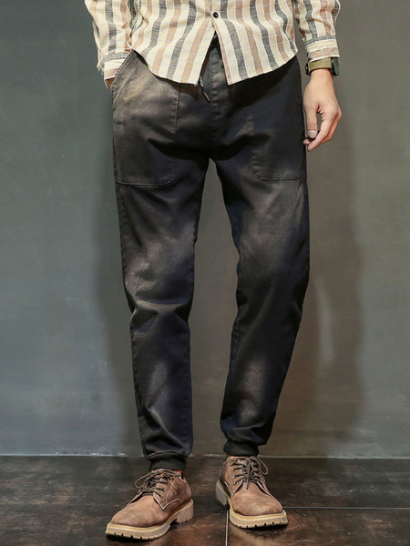 Black Denim Jeans Men's Drawstring Long Casual Pants фото