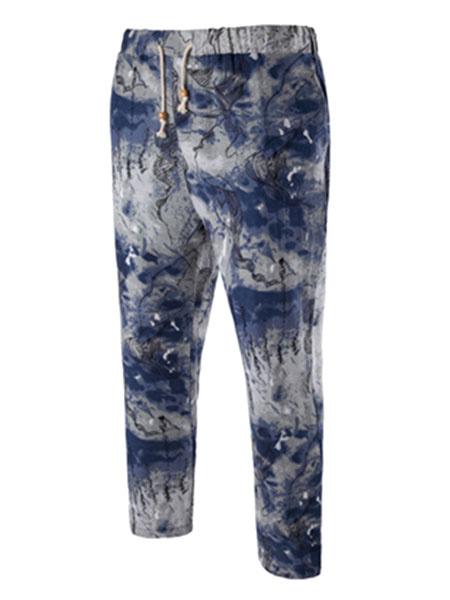 Men's Cropped Pants Blue Printed Elastic Waist Casual Pants