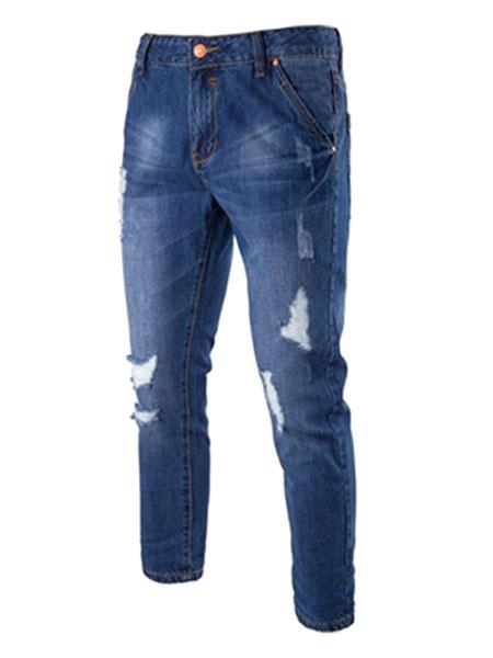 Ripped Denim Jeans Blue Men's Distressed Straight Leg Pants фото