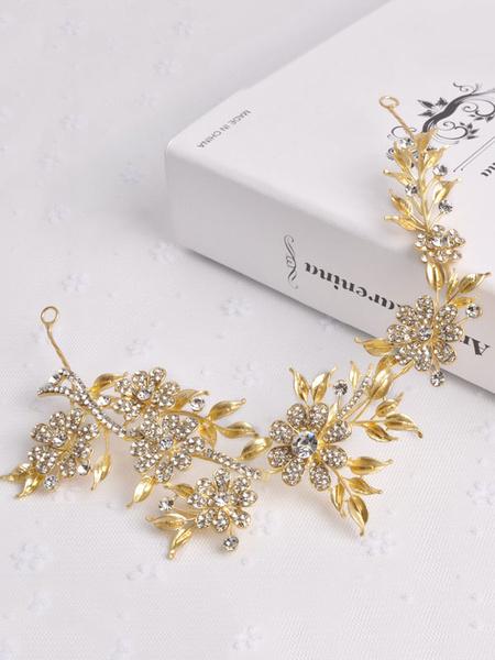 Gold Wedding Headpieces Baroque Style Retro Leaf Headband Beaded Bridal Hair Accessories фото