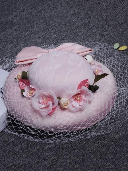 Pink Wedding Fascinator Hats Vintage Royal Flowers Lace Bow Net Royal Bridal Headpieces фото