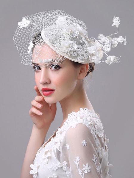 Bianco Fascinator cappello Royal Birdcage Velo fiori Applique retrò copricapo da sposa matrimonio