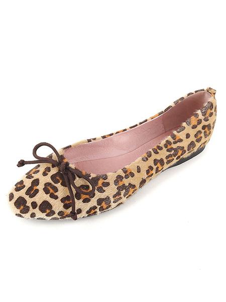 Suede Ballet Flats Women's Deep Brown Faux Fur Square Toe Leopard Printed Bow Decor Flats фото