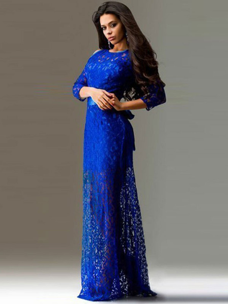 Lace Maxi Dress Royal Blue Open Shoulder Half Sleeve Long Dress With Ribbon Sash For Women, Royal blue;black;dark navy