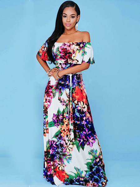 Boho Maxi Dress Floral Printed Ruffle Off The Shoulder Short Sleeve Slim Fit Long Dress For Women