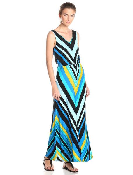 Women's Maxi Dress Boho Light Sky Blue V Neck Sleeveless Printed Long Dress фото