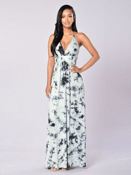 Sexy Maxi Dress Boho Silk Halter V Neck Sleeveless Printed Long Dress For Women, White