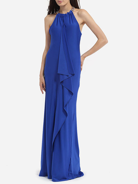 Blue Maxi Dress Silk Halter Sleeveless Ruffle Pleated Long Dress For Women