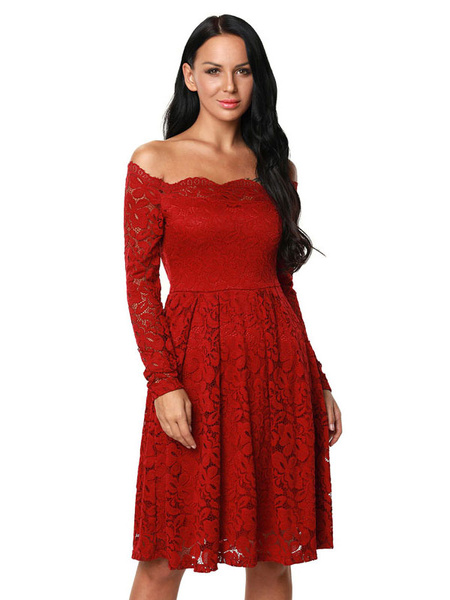 White Lace Dress Off The Shoulder Long Sleeve Slim Fit A Line Skater Dress For Women