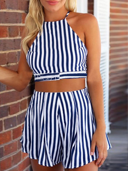 Blue Shorts Set Women's Striped Jewel Neck Sleeveless Lace Up Crop Top With Shorts