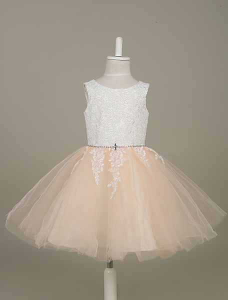 Peach Flower Girl Dresses Tulle Lace Applique Tutu Dress Sleeveless A Line Toddler's Pageant Dress