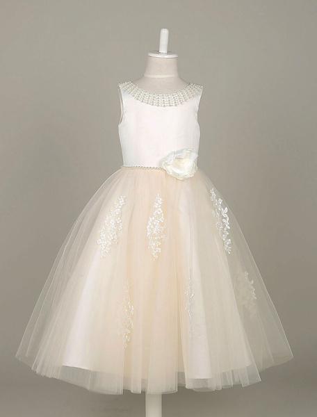 Flower Girl Dresses Tulle Pearls Beading Tutu Dress Lace Applique Ivory Sleeveless Flower Toddler's