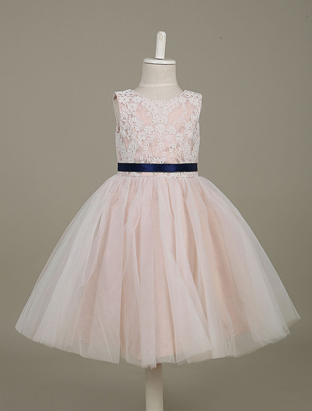 Tutu Flower Girl Dresses Champagne Lace Tulle Sleeveless Sash A Line Toddler's Dinner Dress