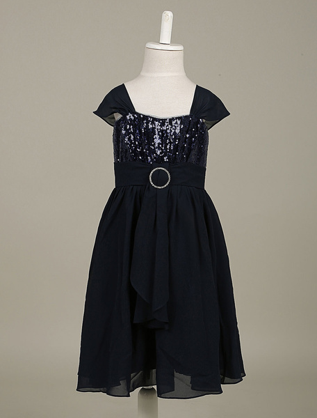 Flower Girl Dress Sequin Chiffon Toddler's Pageant Dress Dark Navy A Line Dinner Dress