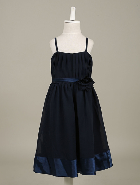 Flower Girl Dresses Sleeveless Chiffon Dark Navy Waist Flower Pleated Toddler's Dinner Dress