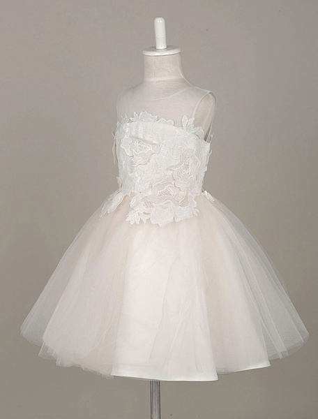 Flower Girl Dresses Lace Flowers Applique Tutu Dress Tulle Illusion Sleeveless Toddler's Pageant Dre