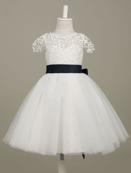 Tutu Flower Girl Dresses Lace Tulle Backless Short Sleeve White Pageant Dress With Ribbon Bow Sash