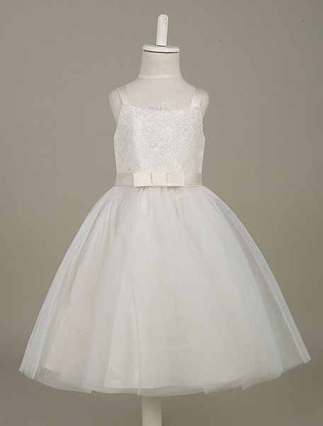 White Flower Girl Dresses Lace Tulle Beaded Tutu Dress Sleeveless Bow Sash Toddler's Dinner Dress