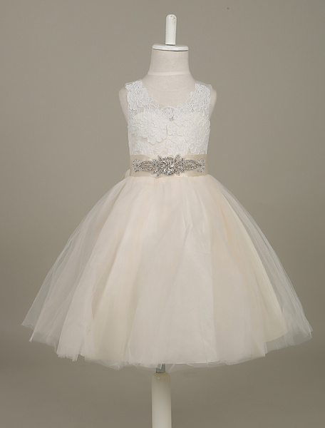 Tutu Flower Girl Dresses Tulle Sleeveless Beading Waist Ribbon Bow Sash Toddler's Pageant Dress фото