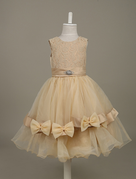 Flower Girls Dresses Rose Red Lace Organza Tutu Dress Sleeveless Bows Ribbon Sash Toddler 's Pageant, Ture red;champagne;rose