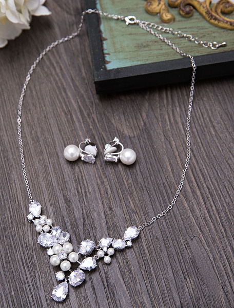Silver Wedding Jewelry Vintage Pearls Zirconia Beaded Bridal Necklace Set With Clip On Earrings фото
