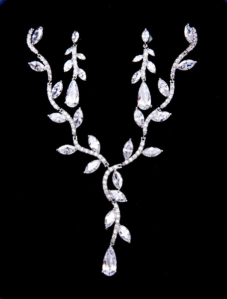 Silver Wedding Jewelry Beaded Zirconia Bridal Necklace Set With Clip Earrings фото